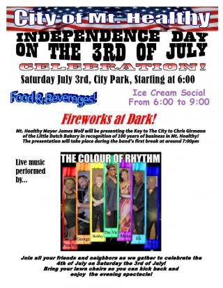 3rd of July flyer with event information